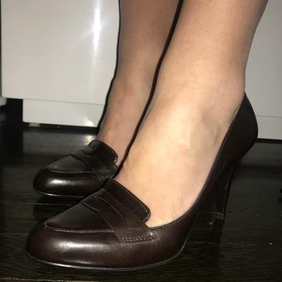 d6c6d7d1df Calvin Klein Shoes - Calvin Klein Classic Brown Leather Work Pumps 6.5